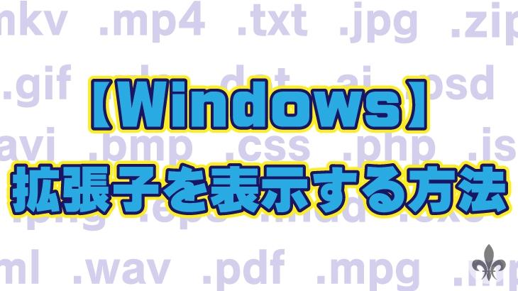 【Windows】拡張子を表示する方法